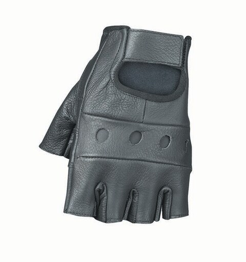 Unisex Durable Black Leather Rugged Fingerless Motorcycle Gloves