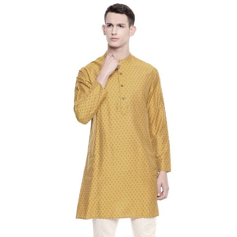 In-Sattva Men's Mandarin Collar Dobby Print Mid-Length Kurta Tunic
