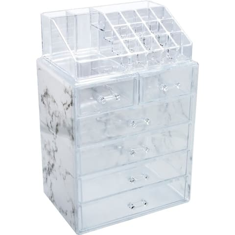 Sorbus Luxe Marble Cosmetic Makeup and Jewelry Storage Case Display (4 Large, 2 Small Drawers, Marble Print)