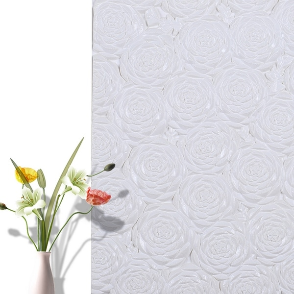 """3D Rose Flower Peel and Stick Wallpaper,28""""x28""""/pc (White_50pc) - 50pc"""