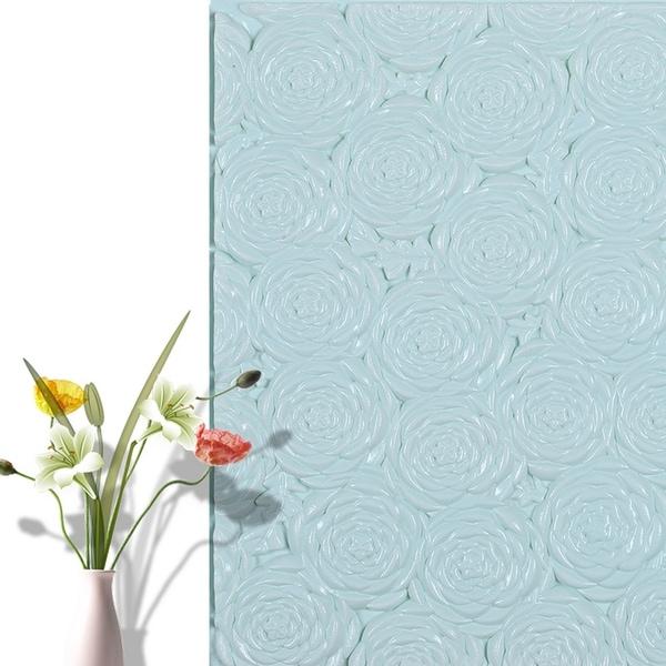 "3D Rose Flower Peel and Stick Wallpaper,28""x28""/pc (Blue_20pc) - 20pc"