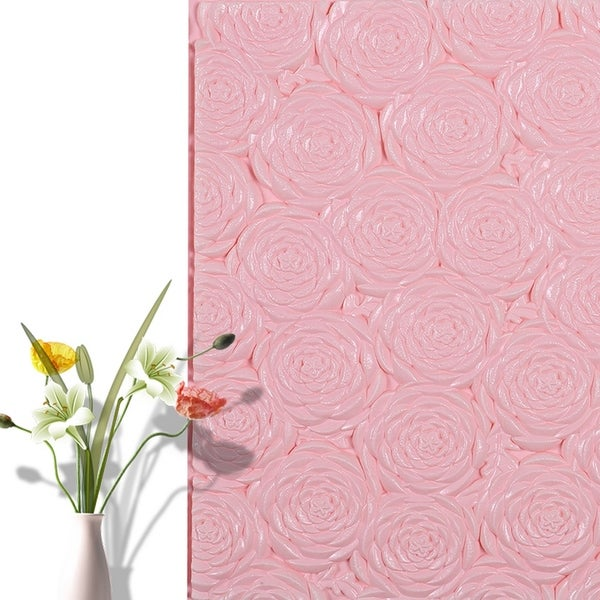 """3D Rose Flower Peel and Stick Wallpaper,28""""x28""""/pc (Pink_20pc) - 20pc"""