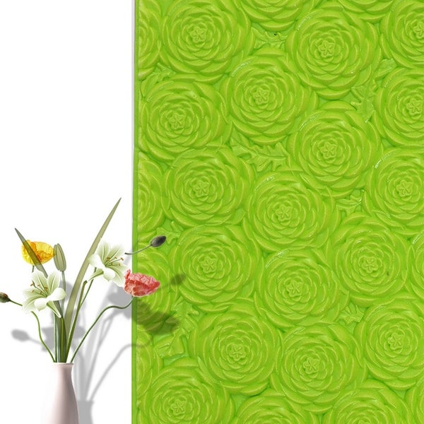 "3D Rose Flower Peel and Stick Wallpaper,28""x28""/pc (Green_20pc) - 20pc"