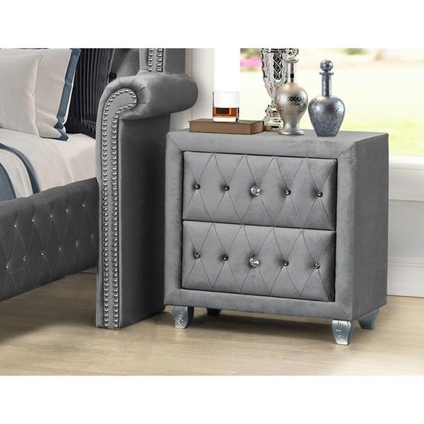 Best Master Furniture Velvet Crushed 2 Drawer Nightstand