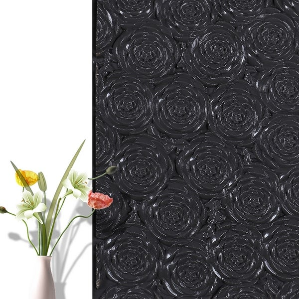 "3D Rose Flower Peel and Stick Wallpaper,28""x28""/pc (Black_50pc) - 50pc"