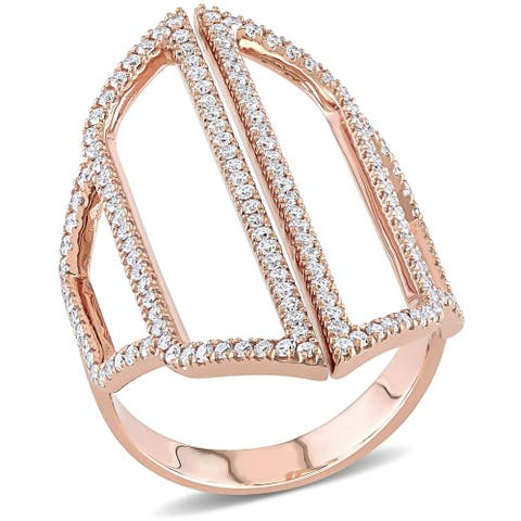 Miadora 14k Rose Gold 3/4ct TDW Diamond Geometric Abstract Middle Finger Ring