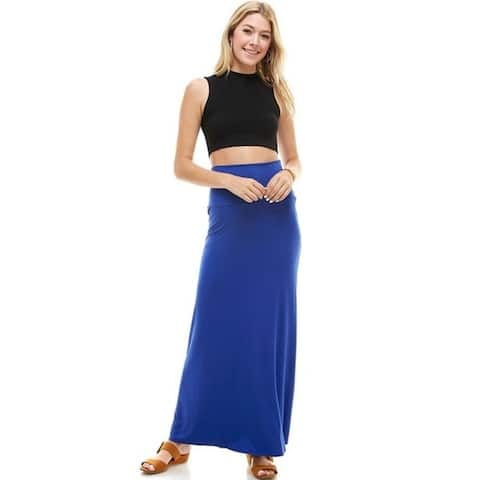 Azules Women's Solid Maxi Skirt -Ankle Length