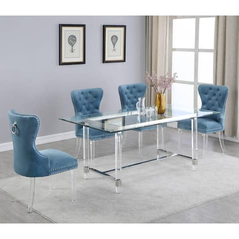 Best Quality Furniture Dining Set with Button Tufted Dining Chairs with Ring Handle