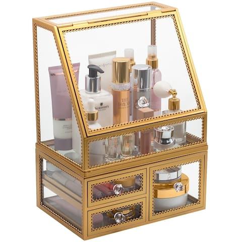 2-Piece Makeup Organizer Display Case (Gold)