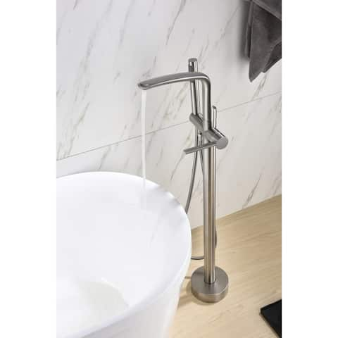8024 Single Handle Floor Mounted Freestanding Tub Filler with Hand shower