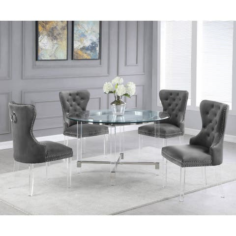 Best Quality Furniture 5-Piece Dining Set with 4 Button Tufted Side Chairs with Ring Handle