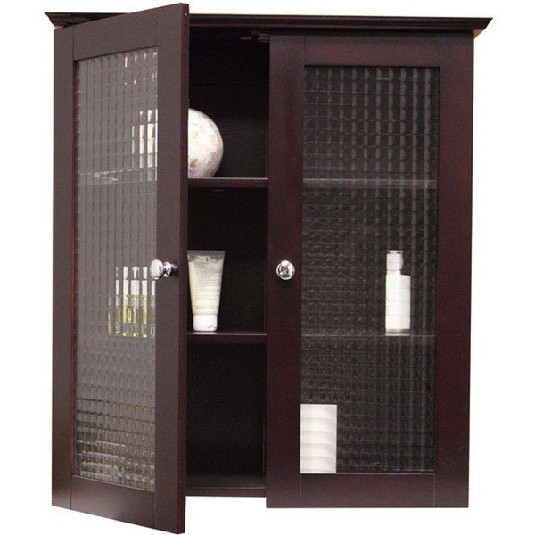 Windham Wall Cabinet with Two Glass Doors by Elegant Home Fashions  sc 1 st  Overstock.com : wall cabinet shelves - Cheerinfomania.Com