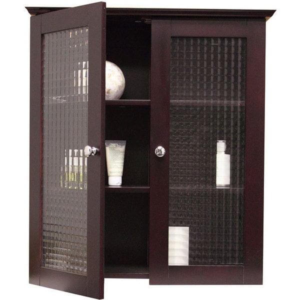 Windham Wall Cabinet with Two Glass Doors by Elegant Home Fashions  sc 1 st  Overstock.com & Shop Windham Wall Cabinet with Two Glass Doors by Elegant Home ...