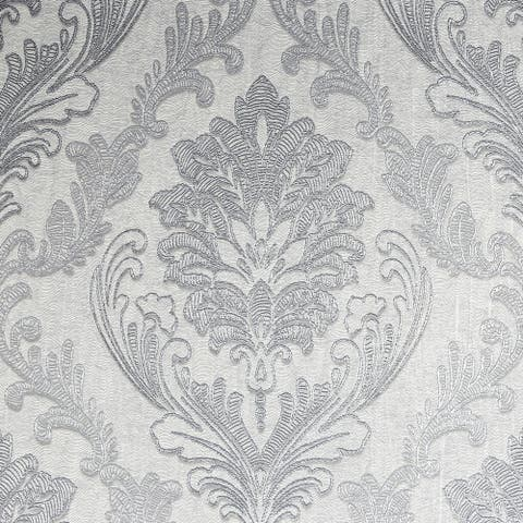 Corsetto Damask Light Silver Wallpaper