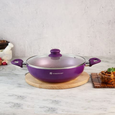 Wonderchef Royal Velvet Non-Stick, Aluminum Wok with Lid, Violet