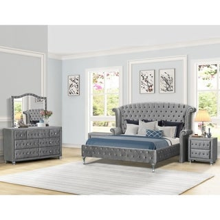 Best Master Furniture 5 Pieces Velvet Crushed Platform Bedroom Set
