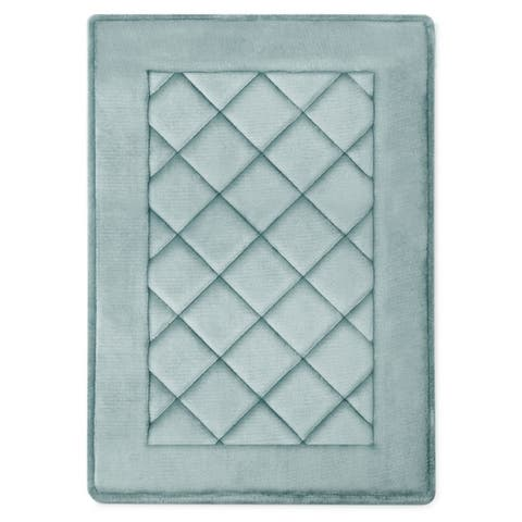 MICRODRY SoftLux Charcoal Infused Diamond Embroidered Memory Foam Bath Mat with GripTex Skid Resistant Base, 17 x 24, 2-Pack