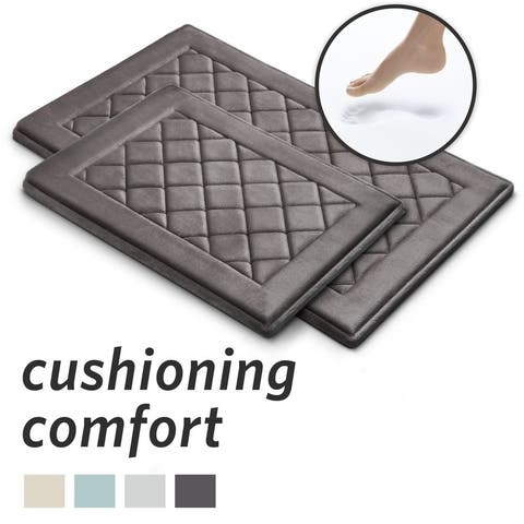 MICRODRY SoftLux Charcoal Infused Diamond Embroidered Memory Foam Bath Mat with GripTex Skid Resistant Base 2-Piece Set