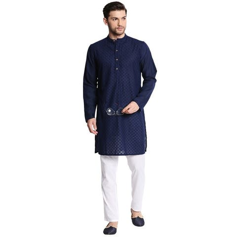 Men's Indian Mandarin Collar Handcrafted Fine Embroidered Kurta Tunic