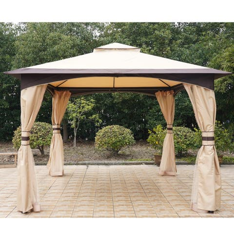 Outsunny 10' x 12' Soft Top Outdoor Gazebo Canopy with Double Roof, Beautiful Design with Eaves, & Mesh Curtain Sidewall
