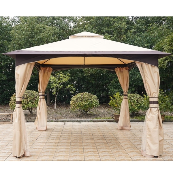 Outsunny 10' x 12' Soft Top Outdoor Gazebo Canopy with Double Roof, Beautiful Design with Eaves, & Mesh Curtain Sidewall. Opens flyout.