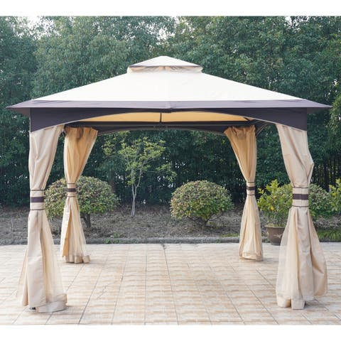 Outsunny 10' x 10' Soft Top Outdoor Gazebo Canopy with Double Roof, Beautiful Design with Eaves, & Mesh Curtain Sidewall