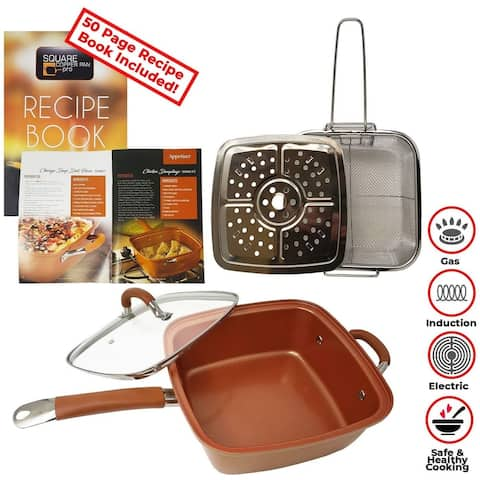 Square Copper Fryer Pan Professional Cookware Set 5 Pieces - All in One Pan for Stove Top & Ovens