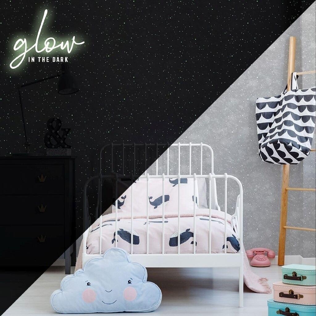 Shop Constellation Grey Glow In The Dark Wallpaper Free Shipping