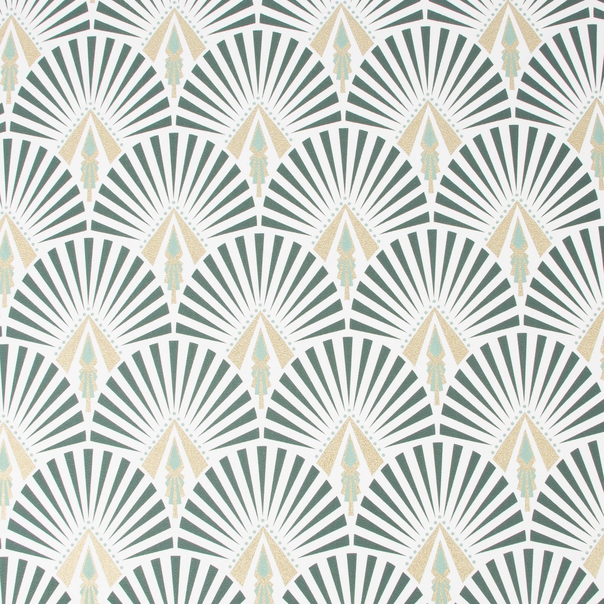 Shop Selena Dark Green Art Deco Wallpaper On Sale Overstock