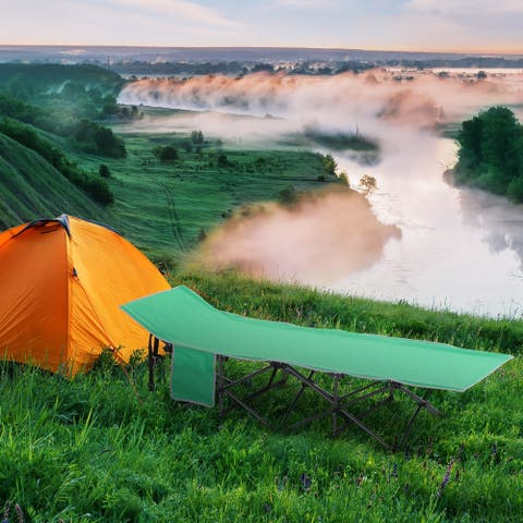 Outsunny Single Person Wide Folding Camping Cot Portable Outdoor Military Sleeping Bed, Green