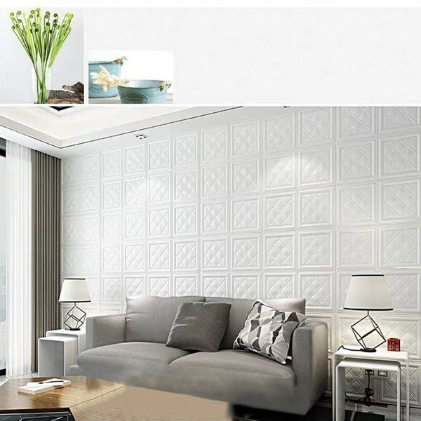 "3D LeatherLook Sticker For Wall Decor,4SquareDiamond,28""x28""/pc. Opens flyout."