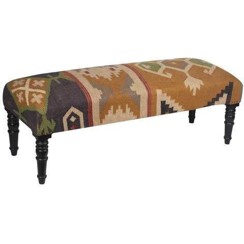 "Handmade Indo Upholstered Bench (India) - 47"" L x 18"" W x 16"" H"