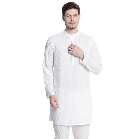 Men's Indian Mandarin Collar All Over High Embroidered Kurta Tunic