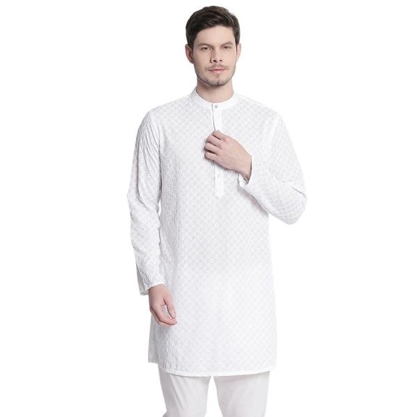 Mens Indian Mandarin Collar All Over High Embroidered Kurta Tunic