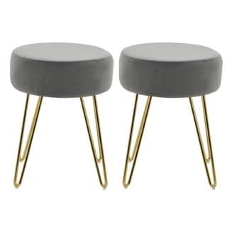 Best Master Furniture Velvet Footstool Ottoman (Set of 2)