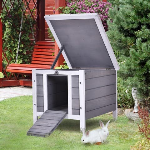 PawHut Raised Wooden Pet House for Rabbits, Cats, & Other Small Animals, made of Fir Wood & Resistant to Weather, Grey