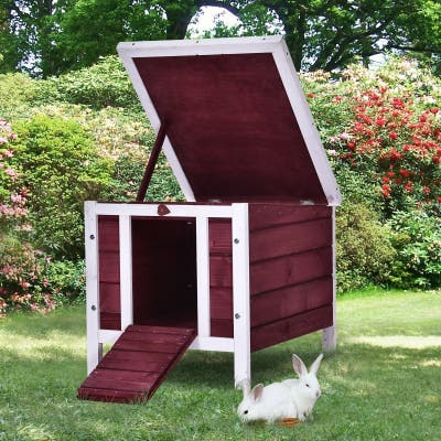 PawHut Raised Wooden Pet House for Rabbits, Cats, & Other Small Animals, made of Fir Wood & Resistant to Weather, Red