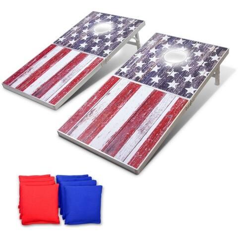 GoSports LED American Flag Cornhole Set, Regulation Size
