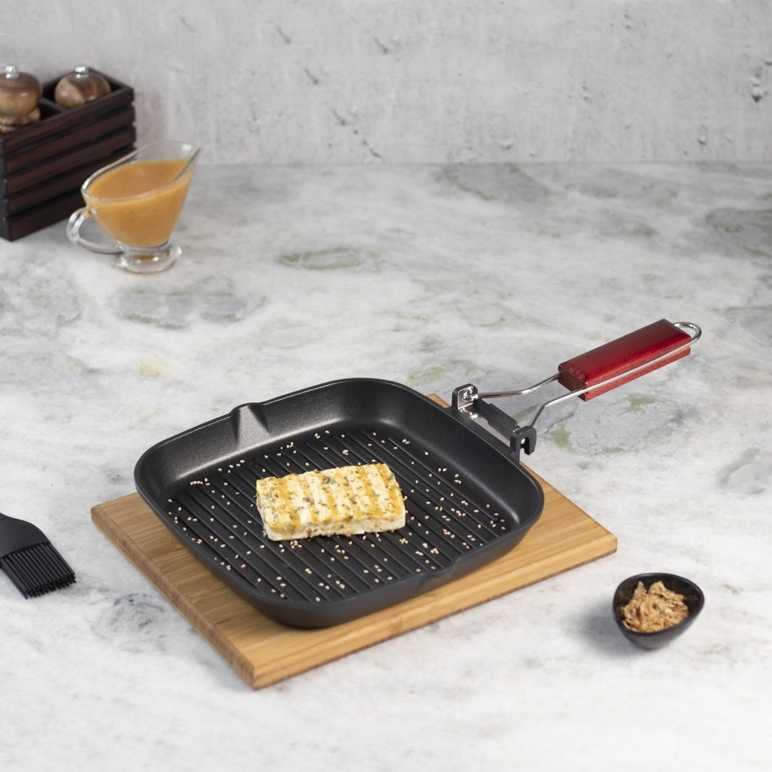 HOT 24CM Frying Pan Non Stick Cast Iron Square Grill Skillet Fry Griddle Cooking