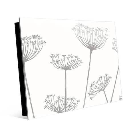 Kathy Ireland 'Meadow Flowers' Grey on White Wall Art Print on Acrylic