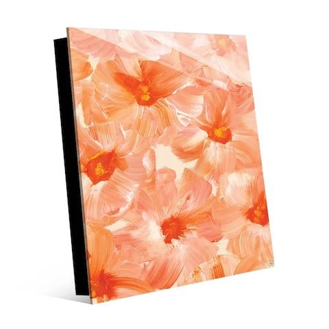Kathy Ireland Brush Flowers in Peach Wall Art Print on Acrylic