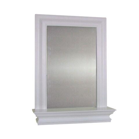 Essential Home Furnishings Kingston White Wall Mirror with Shelf