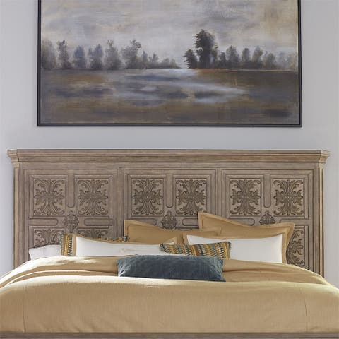 The Laurels Weathered Stone King Decorative Panel Headboard