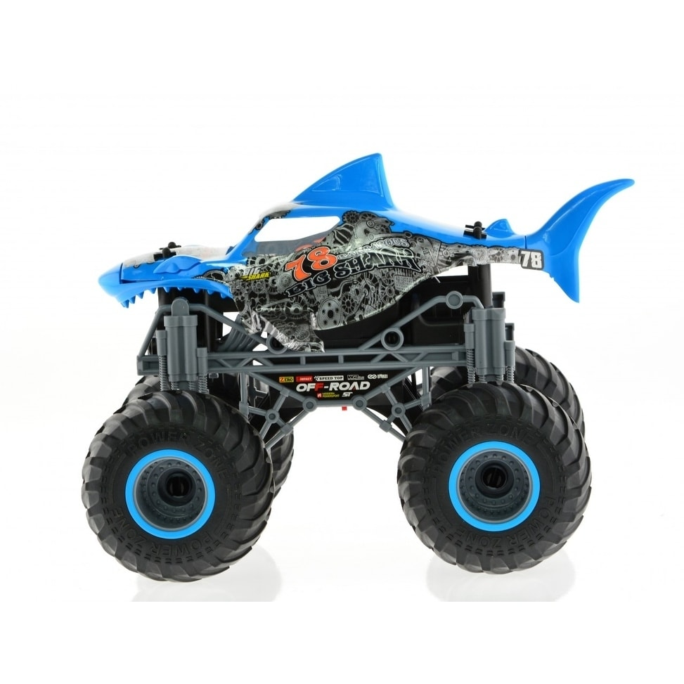 Shop 1 16 Monster Jam Shark Truck Blue Overstock 30830738