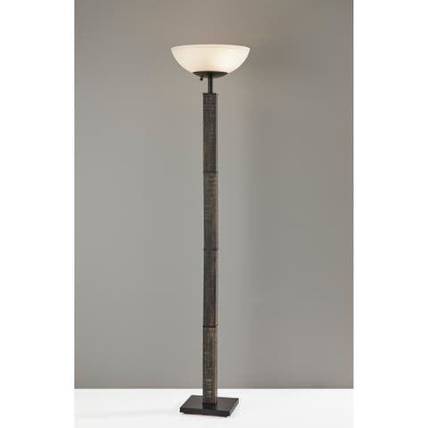 Adesso Walnut or Black Kona 300 Watt Torchiere Floor Lamp