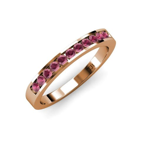TriJewels Rhodolite Garnet 1/4 ctw 11 Stone Wedding Band 18KR Gold
