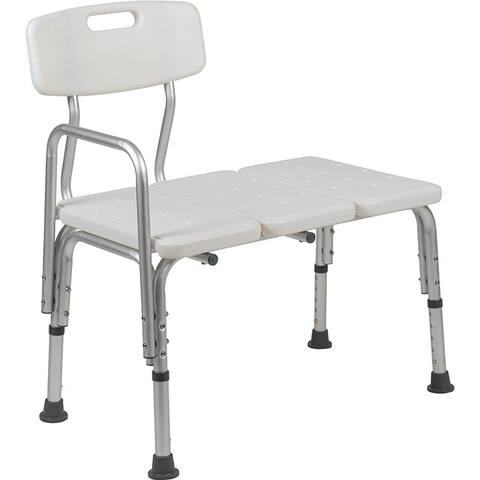 Offex 300 Lb. Capacity Adjustable White Bath & Shower Transfer Bench with Back and Side Arm