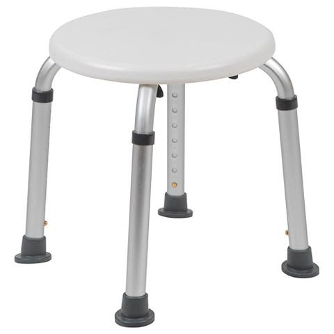 Offex Tool Free and Quick Assembly 300 Lb Capacity Adjustable White Bath Shower Stool