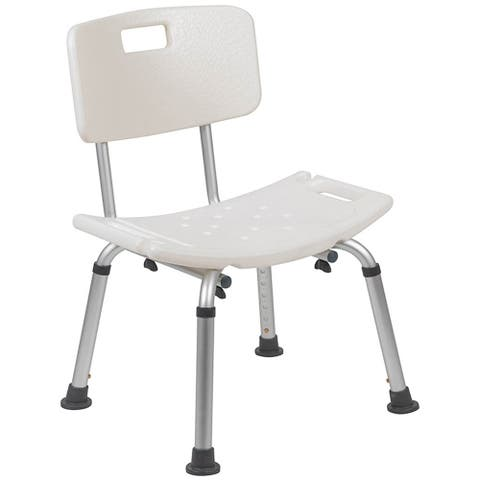 Offex Tool-Free and Quick Assembly, 300 Lb. Capacity, Adjustable White Bath & Shower Chair with Back