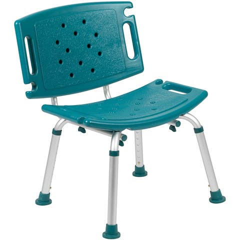 Offex Tool-Free and Quick Assembly, 300 Lb. Capacity, Adjustable Teal Bath & Shower Chair with Extra Large Back